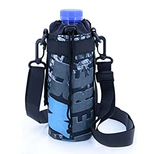 U-TIMES Water Bottle Holder 750 ml Nylon Water Bottle Carrier/Bag/Pouch/Case/Cover/Sleeve With Shoulder Strap & Belt Handle & Molle Accessories - Drawstring Closure(Blue Letter)