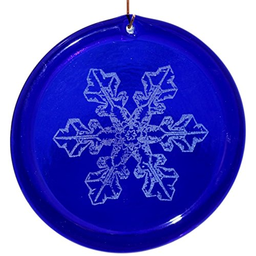 4-Inch Etched Snowflake Bentley Number 2 Suncatcher In Cobalt Blue from our Celestial Collection - Made In the USA. A Great Gift For Anyone. Colorful Suncatchers Bring a Room or View To Life.