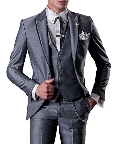 Suit Me Party Homme 3 pi¨¨ces Suit de mariage d'affaires Tuxedo Suits veste, gilet, pantalon gris fonc¨¦ XL