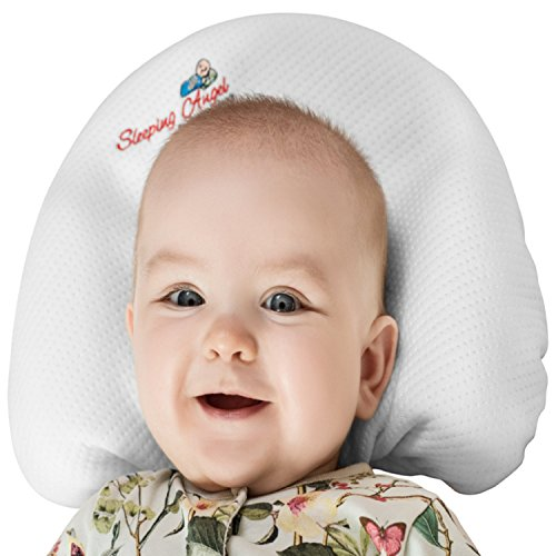 Baby Pillow for Newborns to prevent flat head syndrome (Plagiocephaly) and rolling over. Made of Viscose Memory Foam and comes with 2 Bamboo Pillowcases. Perfect Shower Gift. Bonus Sleep Guide (Angels Pillow)