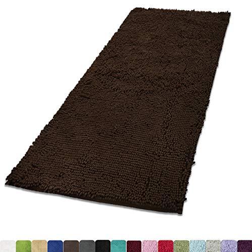 MAYSHINE 31x59 inch Non-Slip Mat Area Rug Chenille Bath Mat Soft Microfber Living Room Bedroom Carpet - Brown