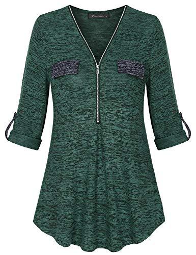 Vinmatto Womens Zip V Neck 3/4 Cuffed Sleeve Casual Flowy Contrast Tunic Shirt