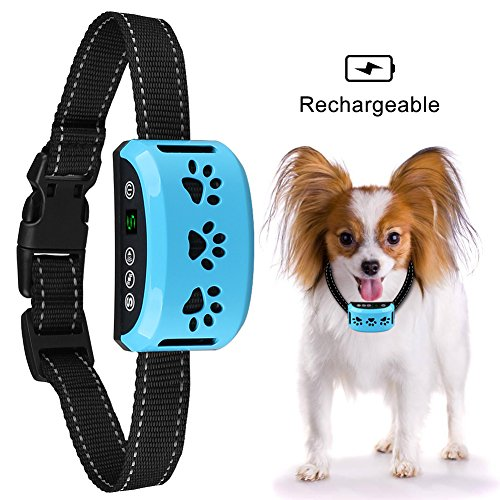 Mothca Bark Collar Rechargeable [Anti Error Triggering] No Barking Dog Control Training Collar Beep Vibration Sensitivity Anti Bark Rainproof Collar with Reflective Strip for Small Medium Large Dogs