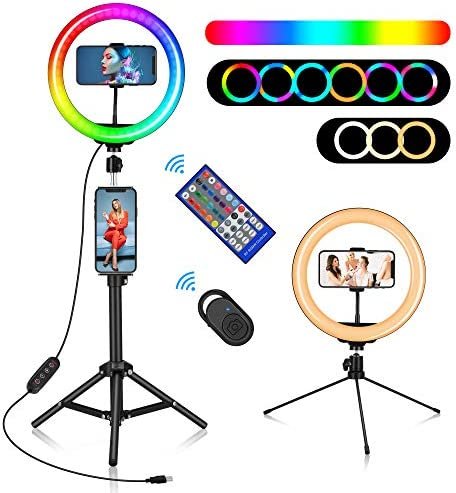 "10"" RGB Ring Light, Misiki Selfie Ring Light with Tripod Stands & Phone/Tablet Holders, 20 Colors LED Light, 10 Brightness Levels, 2 Wireless Remote for Tiktok, YouTube, Live Stream, Photography"