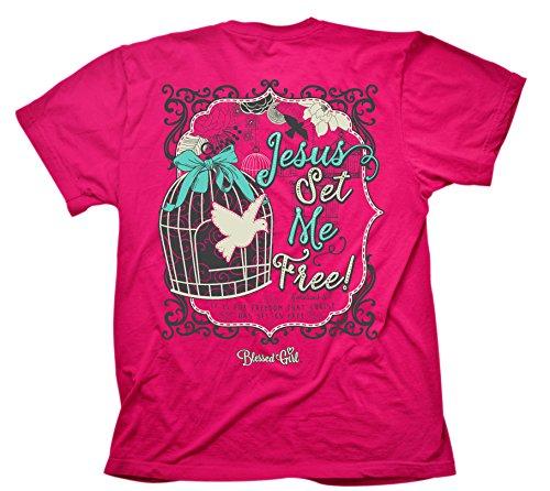 Jesus Set Me Free Blessed Girl Women's Southern Christian T-Shirt, Pink (Free Womens Pink T-shirt)