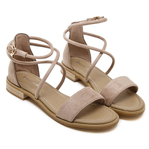 De Las Viajes Flat De Cross Casuales Beige Zapatos Sandalias Flats Straps Summer Para Señoras Roman Vacaciones d75dqRwf