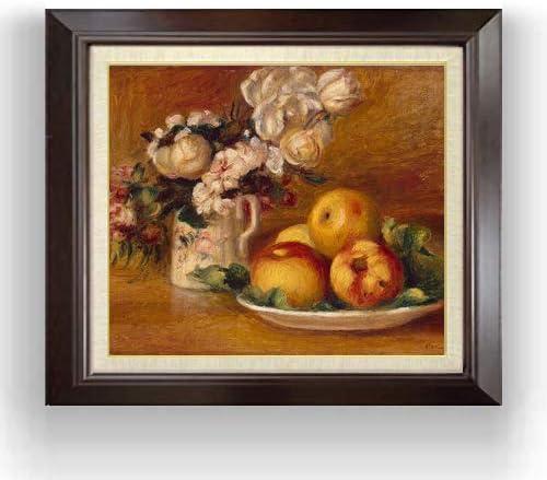 ルノワール リンゴと花 F10 油絵直筆仕上げ| 絵画 10号 複製画 ブラウン額縁 675×601mm