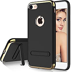 iPhone 7 Case, iPhone 8 Case, AKEDRE Stylish Slim Hard Case [Metal Plate] [Anti-Scratch] Shockproof Electroplate Frame with [Metal Kickstand ] For iPhone 7 4.7 inch