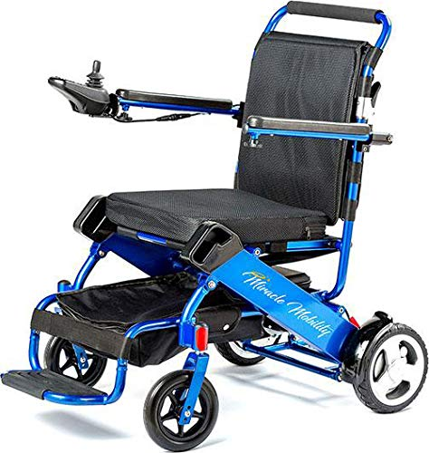- Miracle Mobility Freedom Series Gold Electric Folding Mobility Wheelchair with Two 180W Motors and 24V, 240Wh Lithium Ion Battery, Blue