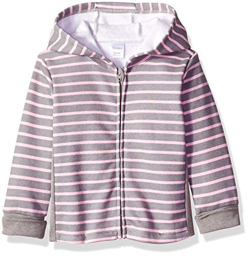 (Hanes Ultimate Baby Zippin Fleece Hoodie, Steel/Pink Stripe, 6-12 Months)