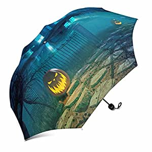 InterestPrint Halloween Night with Scary House and Crows and Pumpkin Foldable Portable Outdoor Travel Compact Waterproof Umbrella