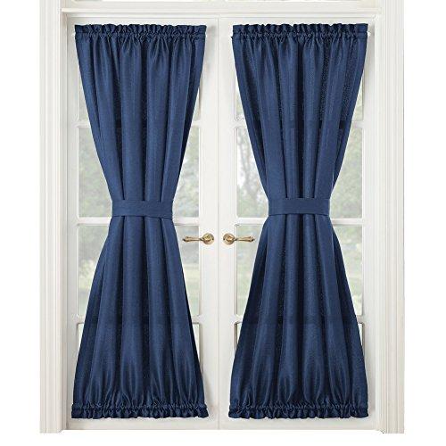 Montego Door Curtain Panel, French Door Drapes, Middle Tie Back, Rod Pocket, Solid Color, Navy (Tie Back Door Panel)