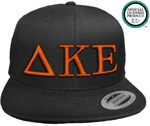 DELTA KAPPA EPSILON Flat Brim Snapback Hat Orange Letters / Deke   DKE   Fraternity Cap
