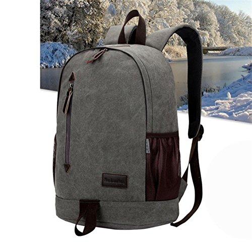Mochila de lona masculina, mochila de deportes al aire libre, bolsa casual de viaje, bolsa de computadora de gran capacidad, bolsa de estudiante simple , gray gray