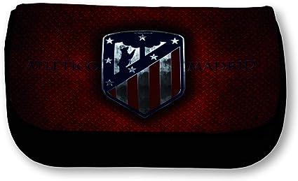 Estuche negro con logotipo Atlético Madrid, diseño de placa metálica: Amazon.es: Oficina y papelería