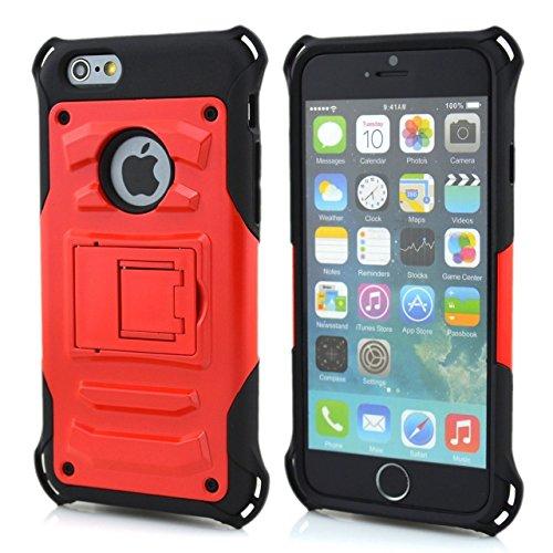 iPhone 6S Plus Case, iPhone 6 Plus, Lantier cool série, 2 en 1 combo hybride Defender High Impact Body Cover Case Armure avec béquille pour Apple iphone 6 / 6S Plus Rouge