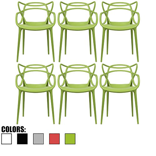 2xhome - Set of 6 Green Dining Room Chairs - Modern Contemporary Designer Designed Popular Home Office Work Indoor Outdoor Armchair Living Family Room Kitchen Bed Bedroom Porch Patio Balcony Arm Chair - Emeco Hudson Chair