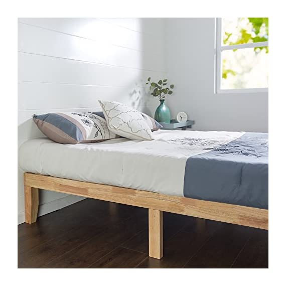 Zinus Moiz 14 Inch Wood Platform Bed / No Box Spring Needed / Wood Slat Support / Natural Finish, Twin - Easy to assemble and no box Spring needed 14 inches high with 3.5 inch frame Solid wood frame with strong wood slats and 3 center support legs - bedroom-furniture, bedroom, bed-frames - 51cM2qfR bL. SS570  -