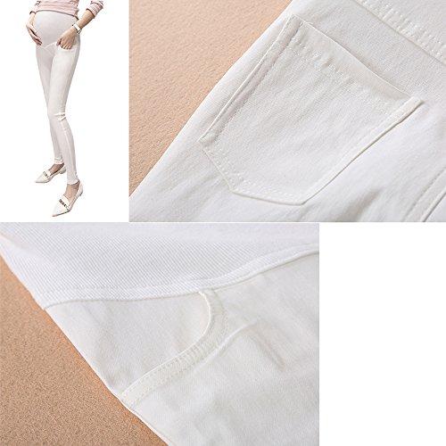 alta di Pantalone leggings ZEVONDA Donne Bianco pantaloni maternità elasticità HPOwB4Yq