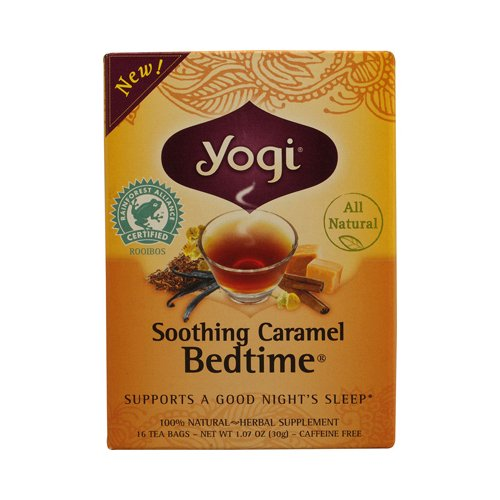 Yogi Bedtime Herbal Tea Soothing Caramel - 16 Tea Bags - Case of 6 - Caffeine Free - Supports A Good Night Sleep