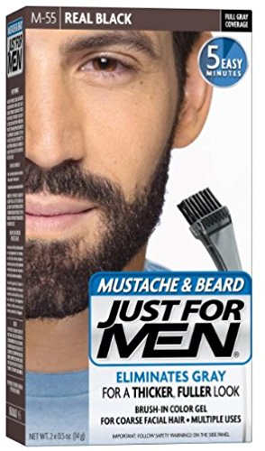 JUST FOR MEN Color Gel Mustache & Beard M-55 Real Black 1 Each (Pack of 4)