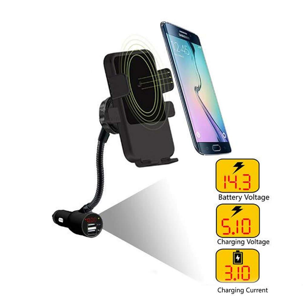 Fabselection Qi Wireless Car Charger with Cigarette Lighter, Wireless Charging Car Mount USB CeliPhone Holder for iPhone 8/8 Plus/X/XR/XS/Samsung Galaxy ...