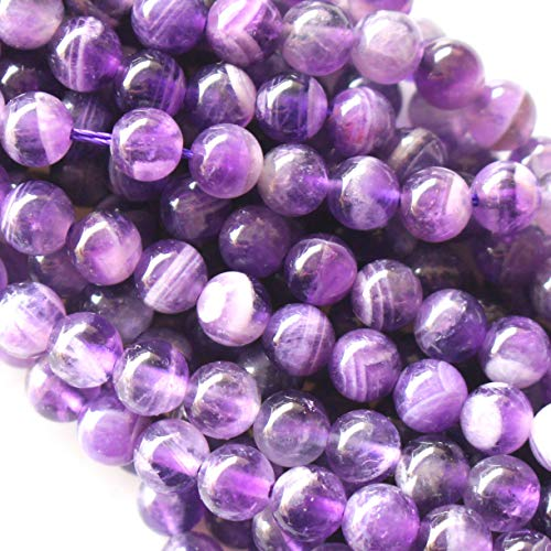 Natural Color Genuine Amethyst Round Real Gemstones Loose Beads for Jewerly Bracelet Making (Smooth 6mm) - Natural Loose Gemstone Beads