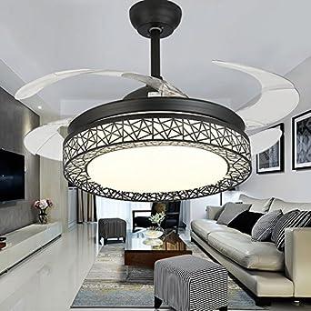 GroBartig Kaluori 42 Zoll Deckenventilatoren 4 Einziehbare Lamellen LED  Deckenventilator Drei Farbwechsel Kristall Kronleuchter Mit Fernbedienung (