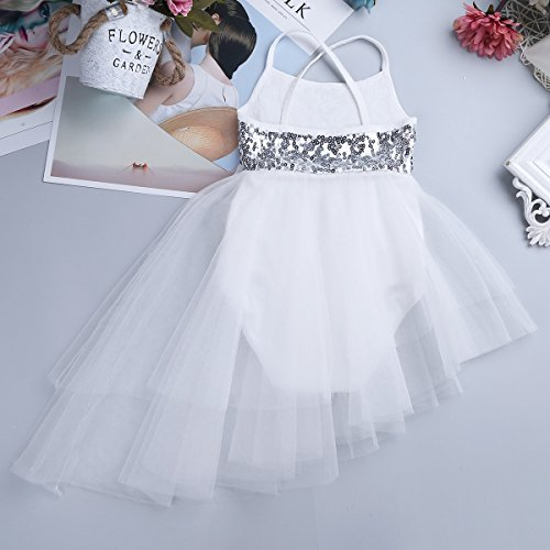 TiaoBug Leotard Ballet Fairy Dance Girls Sequins Low Costume Dress Sleeveless Ballerina High Ivory Gymnastics wHgwr