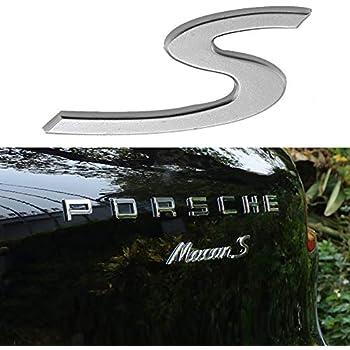 Metal Silver S Rear Lid Trunk Badge emblem Letter Sticker For Porsche 2011+