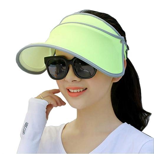 d076aada7e7f1 Seevy Summer Sun Hat Face Shield Cap Visor Sun Cover Hat Anti-UV Cap  Fluorescence Green at Amazon Women s Clothing store