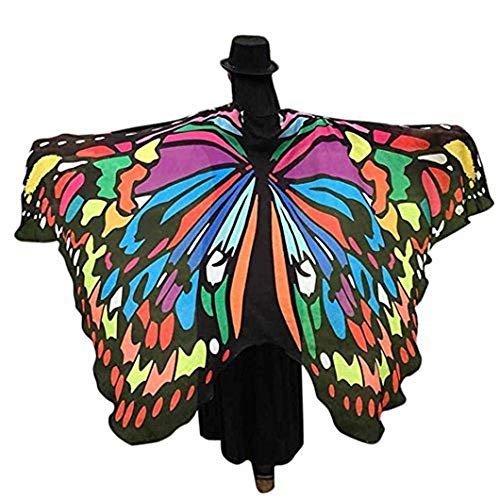 2018 New Womens Halloween Butterfly Wings Shawl Cape Scarf Fairy Poncho Shawl Wrap Costume Accessory... (Multicoloured, 197x125cm)