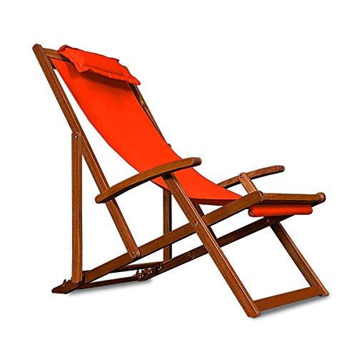 Chaise camping plage pliante en bois Tissu assise Orange +coussin amovible