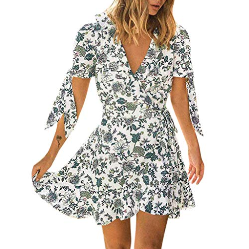 kaifongfu Women Sexy Floral Print V Neck Dress Flare Short Lace-up Sleeve Tie Summer Mini Dress(White,S)