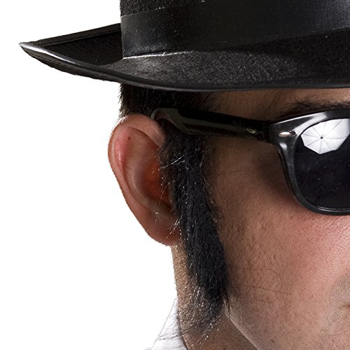 [Sideburns-Mustache-Eyebrow Costume Kit] (Blues Brothers Hat)
