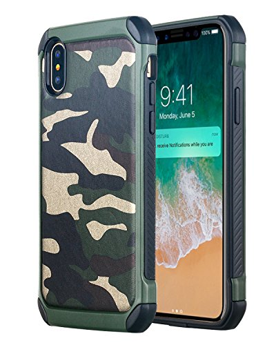 iPhone X Case, Lontect [Camo Series] Hybrid Dual Layer Cover Faux Leather Camouflage High Impact Shockproof Armor Defender Case for Apple iPhone X - Camouflage Green