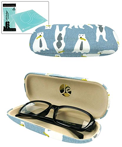 Microfiber Cleaning Cloth Pattern: JAVOedge White Polar Bear Pattern Brown Eyeglass / Reading