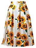 Women Sunflower Floral printed Midi A-line Skater Skirt High Waist Dress White