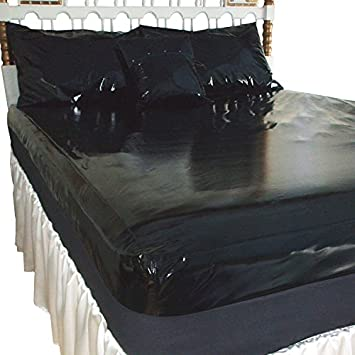 Ordinaire PVC High Gloss Fitted Bed Sheet Black Double