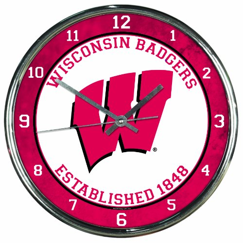 Wall Badgers Wisconsin Clock - NCAA Wisconsin Badgers Chrome Clock, 12