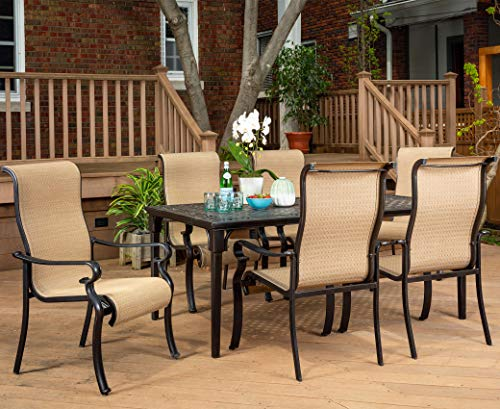 Brigantine 7-Piece Rust-Free Aluminum Outdoor Patio Dining Set with 6 Dining Chairs and Aluminum Rectangular Dining Table, BRIGANTINE7PC (Cast Patio Furniture Sling Aluminum)
