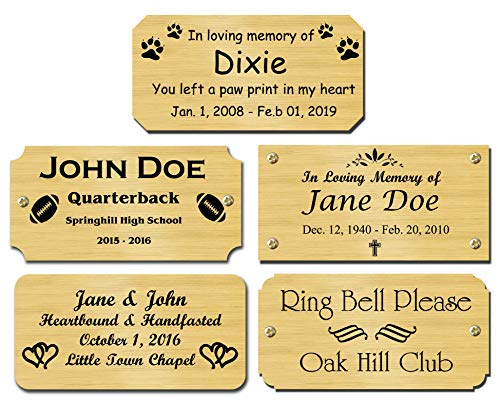 Solid Brass Satin Finish Personalized Custom Laser Engraved Nameplate Label Art Tag Sign Notched Square or Round Corners Choose Your Size and Text ()