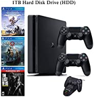 NexiGo 2020 Playstation 4 PS4 1TB Console with Two Dualshock 4 Wireless Controller Holiday Bundle, Included 3X