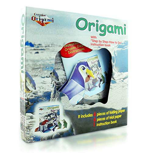 Origami Kit for Kids North Pole Edition- 12 Pieces of Origami Paper - 5 Origami Animals to Create - Origami Instruction Book for Children and Beginners - Starter Kit