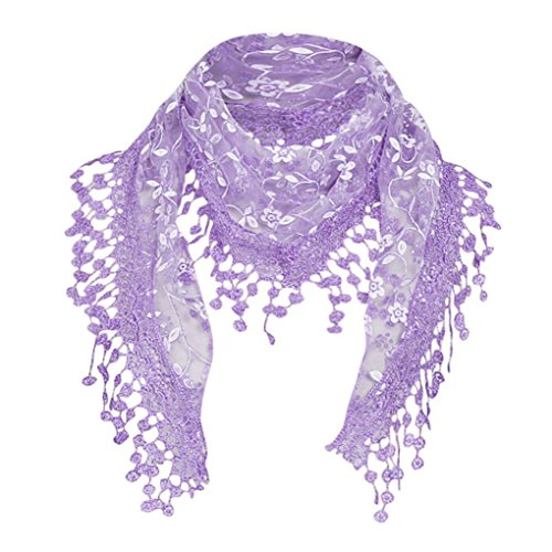 Bolayu Sexy Scarf Gril Lace Sheer Floral Scarf Shawl Wrap Tassel Scarfs for Fashion Women - http://coolthings.us