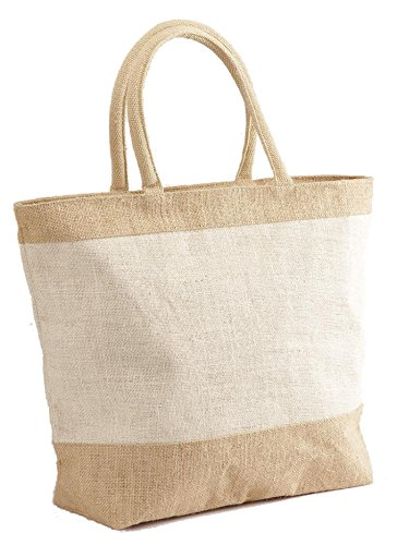 Natural White Jute/Burlap Tote Bag with Zippered Closure Cotton Webbed Handles - CarryGreen Bags