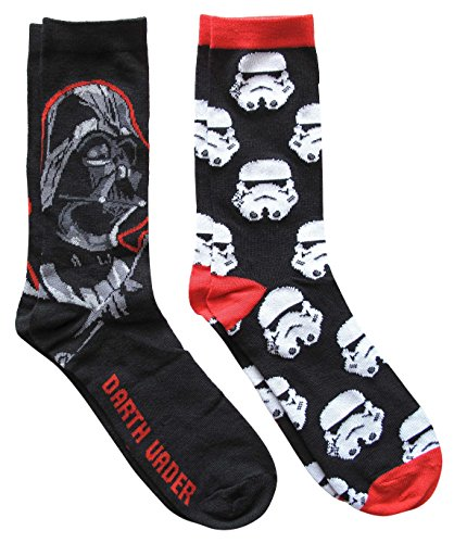 Star Wars Darth Vader Mens Casual Crew Sock Set - Pack of 2 (Mens Shoe Size 6-12) from STAR WARS