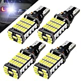 Boodled 4pcs 1000 lumens Extremely Bright Canbus Error Free 921 912 T10 T15 4014 45pcs Chipsets LED Bulbs For Backup Reverse Lights, Xenon White 6000K No Error ( 4xT15-4014-45-W )