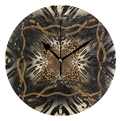 (Ladninag Wall Clock Tiger and Leopard Skin Background Silent Non Ticking Decorative Round Digital Clocks Indoor Outdoor Kitchen Bedroom Living Room)