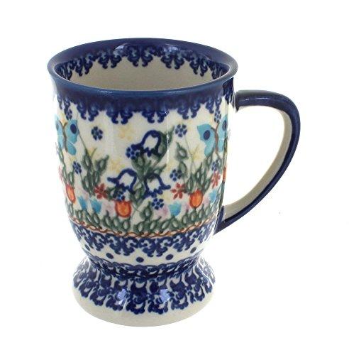 (Blue Rose Polish Pottery Garden of Eden Pedestal Coffee Mug)
